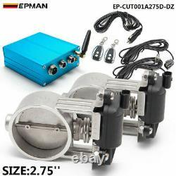 2.75 Exhaust Control 2 set Valve Dual Set w Remote Cutout Pipe Vacuum Pump Kit