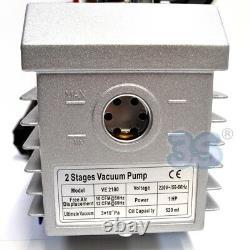 3S VACUUM PUMP 10 CFM 1 HP 280 L/Min DOUBLE STAGE + VACUUM GAUGE SELENOID VALVE