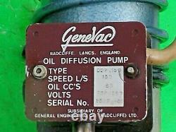 GENEVAC 3 OIL VAPOUR DIFFUSION PUMP 240VAC 150L/s 350W + 3 BUTTERFLY VALVE