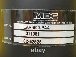 MDC Vacuum Products 311081 Pneumatic Angle Valve HV Series LAV-600-PAA Used