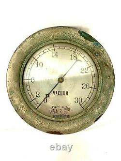 Vintage Antique Ashton Valve Company Boston Ma Brass Vacuum Pressure Pump Gauge